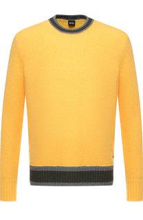 Шерстяной свитер с круглым вырезом BOSS