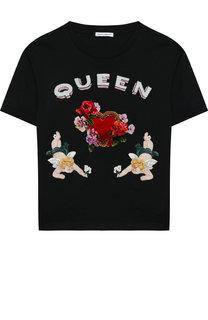 Хлопковая футболка с декоративной отделкой Dolce & Gabbana
