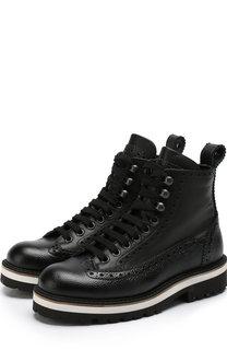 Кожаные ботинки на шнуровке с брогированием Dsquared2