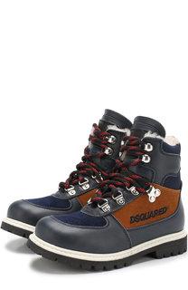 Кожаные ботинки на шнуровке с внутренней меховой отделкой Dsquared2