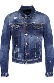 Джинсовая куртка с потертостями Dsquared2