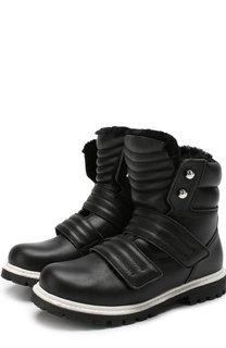 Кожаные ботинки с застежками велькро и внутренней меховой отделкой Dsquared2