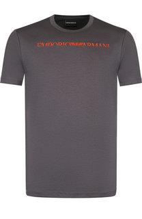 Хлопковая футболка с логотипом бренда Emporio Armani