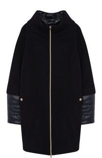 Шерстяное пальто на молнии с воротником-стойкой Herno