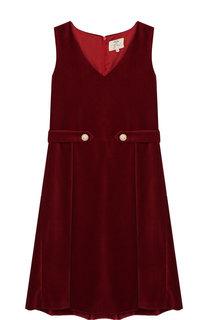 Бархатное платье с защипами Caf