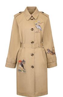Хлопковое пальто с декоративной вышивкой и поясом REDVALENTINO