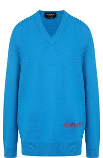 Однотонный пуловер из смеси шерсти и хлопка с V-образным вырезом CALVIN KLEIN 205W39NYC