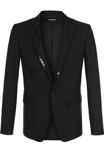 Однобортный пиджак из смеси шерсти и шелка Dsquared2