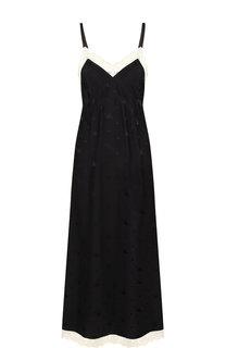 Шелковое платье-миди с кружевной отделкой на бретельках MCQ