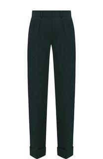 Однотонные шерстяные брюки с отворотами Kiton