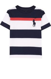 Хлопковая футболка в полоску Polo Ralph Lauren