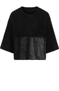 Шерстяной пуловер с укороченным рукавом и пайетками Emporio Armani