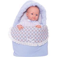 """Кукла Paola Reina """"Бэби"""" в теплом голубом конверте, 32 см"""
