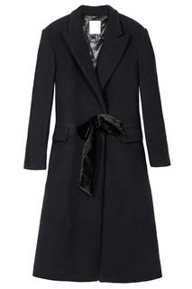 Синее однобортное пальто Sandro