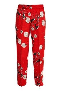 Красные брюки с цветочным принтом Alena Akhmadullina
