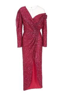 Асимметричное красное платье с отделкой Alena Akhmadullina