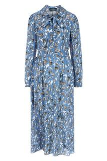 Синее шелковое платье с принтом Alena Akhmadullina