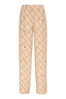 Бежевые брюки с контрастным принтом Alena Akhmadullina