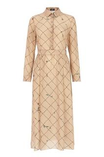 Бежевое платье с контрастным принтом Alena Akhmadullina