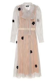 Платье с прозрачным верхом и аппликацией Alena Akhmadullina
