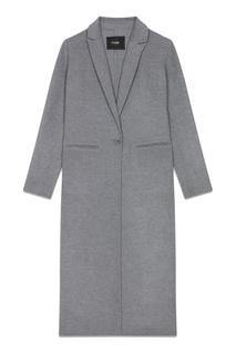 Серое однобортное пальто Maje