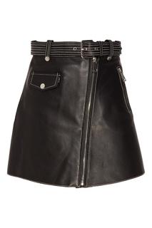 Кожаная юбка с контрастной отделкой Maje