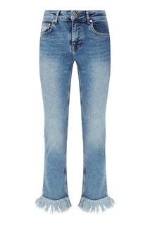 Голубые джинсы с бахромой Maje