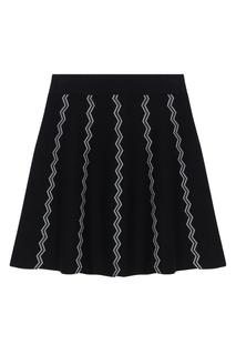 Черная юбка с контрастной отделкой Maje