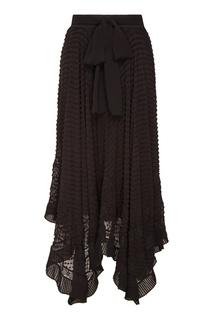 Черная шелковая юбка с поясом Zimmermann