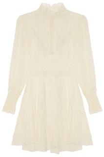 Белое шелковое платье с кружевом Zimmermann