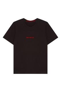 Черная футболка с контрастной надписью Mo&Co
