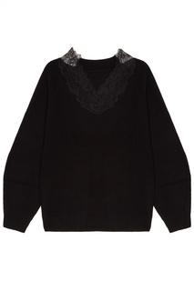 Черный пуловер с кружевной отделкой Mo&Co