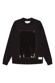 Черный свитшот с лакированной отделкой Calvin Klein