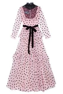 Розовое платье с принтом Valentino