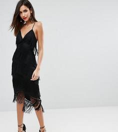 Сетчатое облегающее платье миди с бахромой ASOS DESIGN - Черный