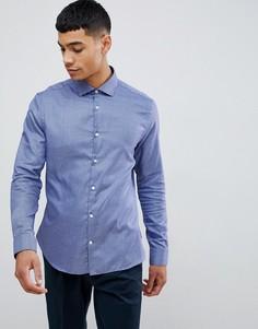 Приталенная рубашка в ломаную клетку с длинными рукавами из 100% хлопка Moss London - Синий