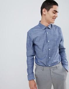 Приталенная рубашка с длинными рукавами Moss London - Синий