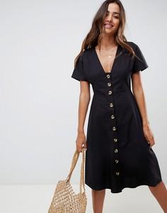 Приталенное платье миди в стиле casual на пуговицах ASOS DESIGN - Черный