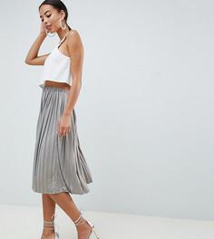 Серая атласная плиссированная юбка миди с эффектом металлик Missguided Tall - Зеленый