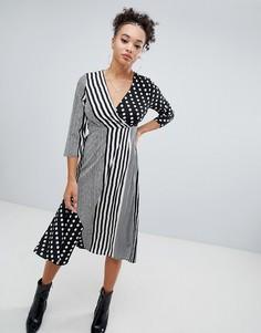 Монохромное платье миди в полоску и горошек Boohoo - Черный