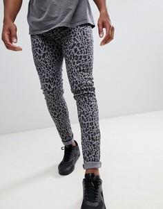 Черные джинсы скинни с леопардовым принтом Liquor N Poker - Черный