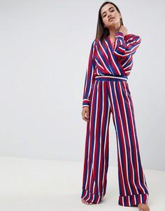 Пижама с блузкой в полоску с запахом и брюками ASOS DESIGN - Мульти