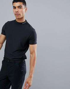 Черная футболка из быстросохнущей ткани с высоким воротом ASOS 4505 golf - Черный