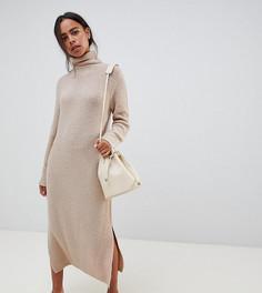 Платье-джемпер миди с разрезами по бокам ASOS DESIGN Petite - Светло-бежевый