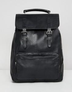 Черный кожаный рюкзак с карманом спереди ASOS DESIGN - Черный