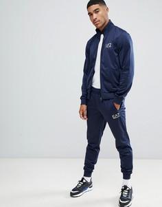 38867316c7f Темно-синий трикотажный спортивный костюм с молнией и логотипом EA7 - Темно- синий