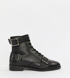Кожаные ботинки на шнуровке для широкой стопы ASOS DESIGN - Черный