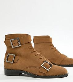 Кожаные ботинки на шнуровке для широкой стопы ASOS DESIGN - Рыжий