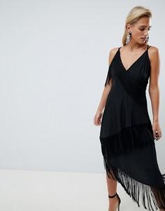 Платье миди на бретельках с бахромой ASOS DESIGN - Черный