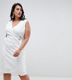 Платье в полоску с запахом ASOS DESIGN Curve - Мульти
